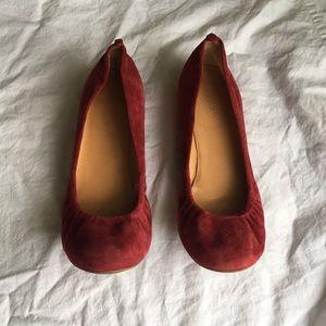 Deep red/maroon suede J Crew ballet flats